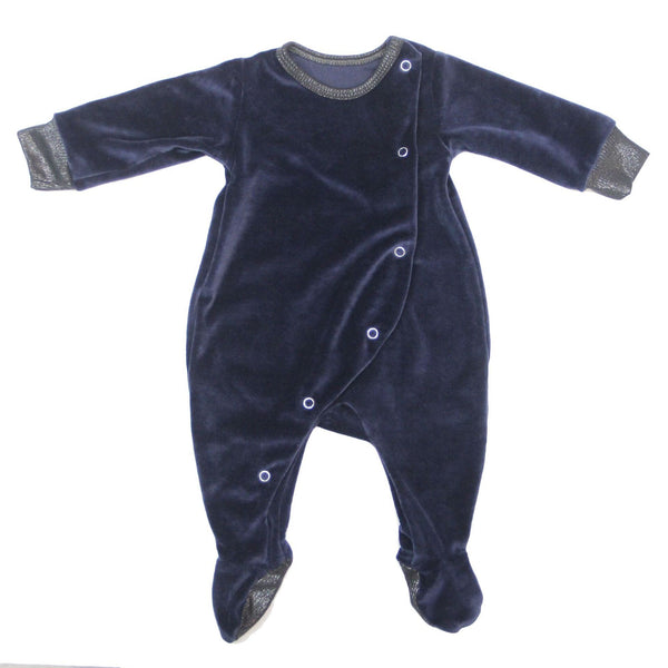 Velour Snap Footie | Navy