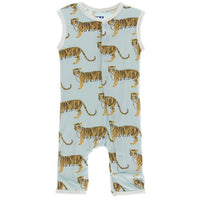 light blue bamboo tank top romper with long pants and tiger print | Saplingshop