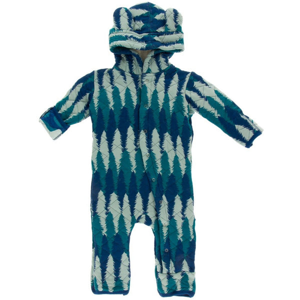 KicKee Pants Quilted Hoodie Coverall with Sherpa-Lined Hood | Navy Forestry
