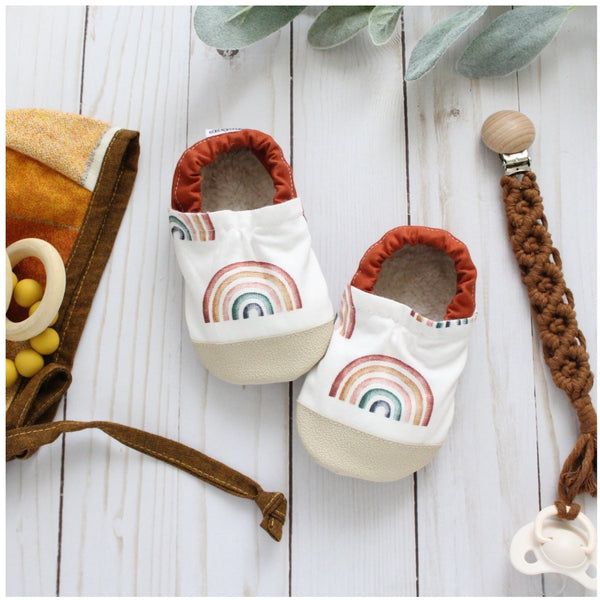 Cotton Non Skid Infant and Toddler Scooter Booties | Neutral Rainbows