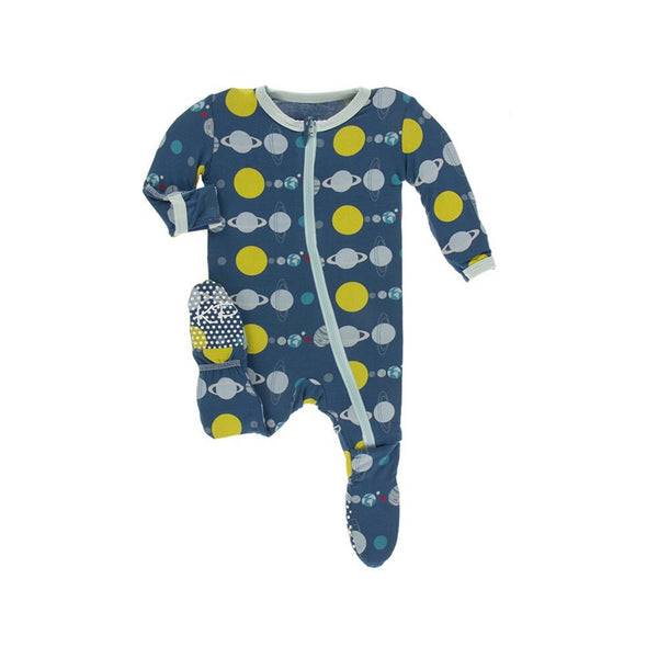 KicKee Pants Bamboo Footie with Zipper | Neptune Planets