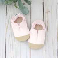 Cotton Non Skid Infant and Toddler Scooter Booties - Powder Pink Linen
