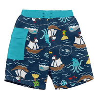 navy swim trunks with aqua side pocket and pirate ship print with octopus | saplingshop