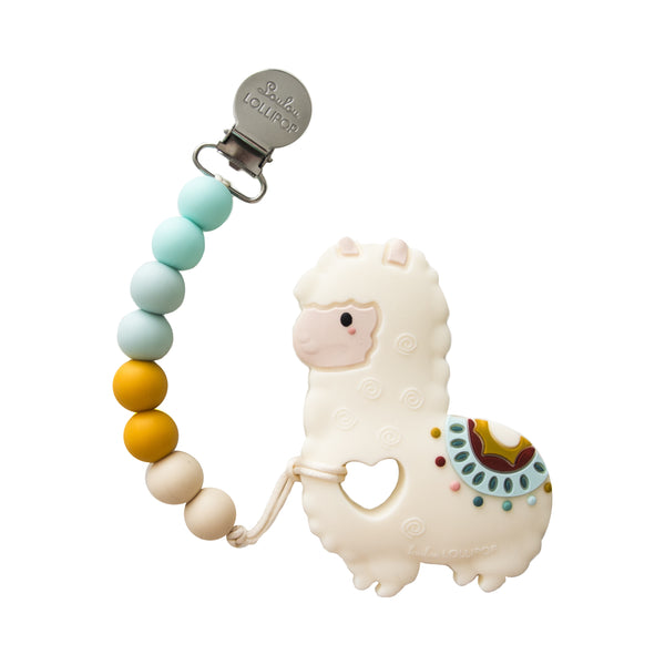 LouLou Lollipop Silicone Teether with Clip | Llama
