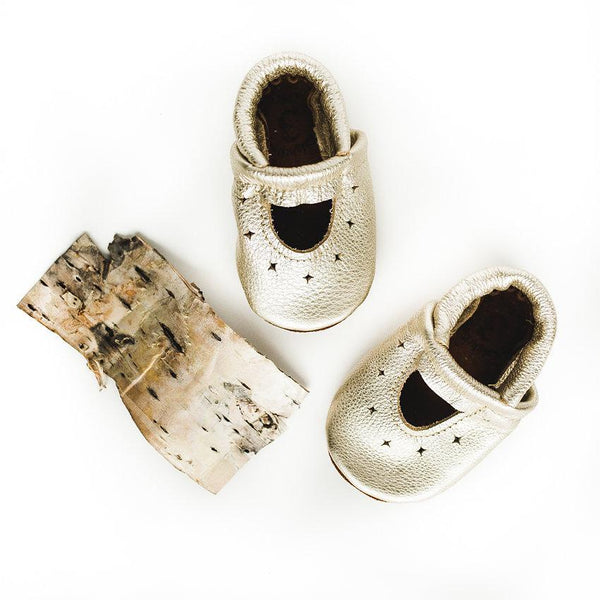 Soft Leather Baby and Toddler Starry Jane Moccasin | Platinum