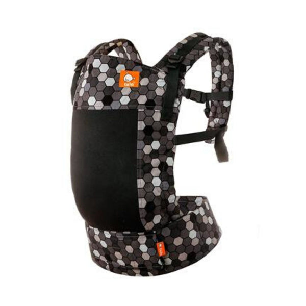 Tula Free to Grow carrier with honecomb black, gray, and white designs