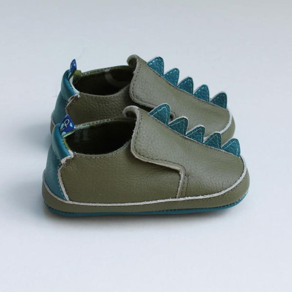 Leather Soft Sole Shoes For Babies and Toddlers Dinosaur Scales | Moss Green