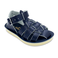 Saltwater Water-Friendly Leather Toddler Sandals | Navy Sharks