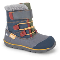 high waterproof insulated winter boot for toddlers in gray and green with yellow laces