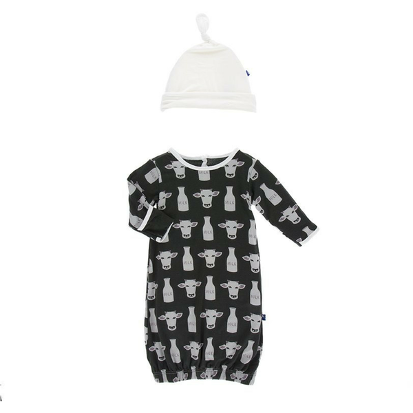 Kickee Pants Layette Gown + Hat Set: Zebra Tuscan Cow