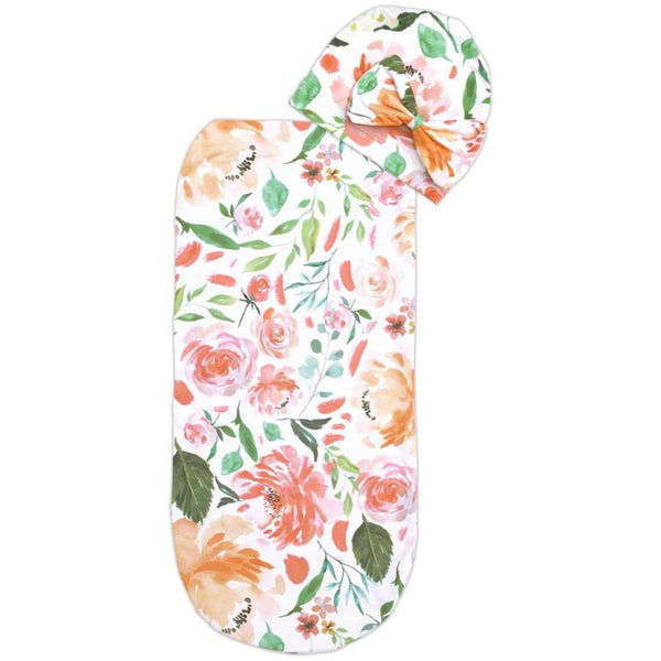 Itzy Ritzy Cutie Baby Cocoon and Hat | Peach Floral