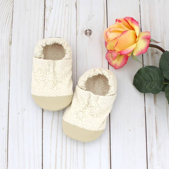 Cotton Non Skid Infant and Toddler Scooter Booties | Cream Lace