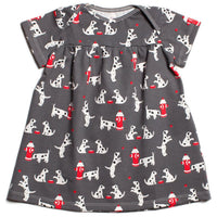 winter water factory short sleeve cotton dress in grey with a Dalmatian and fire hydrant patternsaplingshop