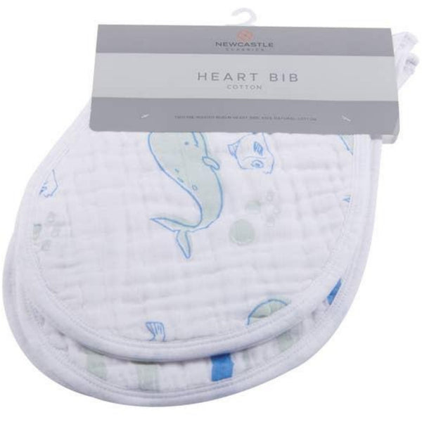 Newcastle Cotton Muslin Heart Bib | Ocean