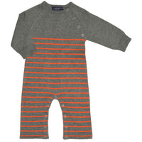 Cotton Sweater Knit Jumpsuit | Orange Stripe