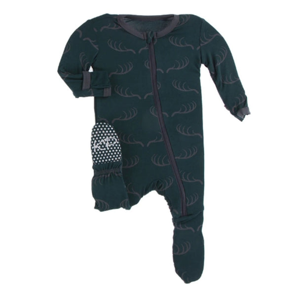 KicKee Pants Bamboo Footie with Zipper | Pine Deer Rack
