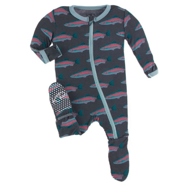 KicKee Pants Bamboo Footie with Zipper | Stone Rainbow Trout