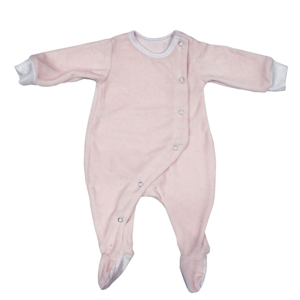 Velour Snap Footie | Pink