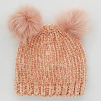 Hand Knit Baby and Toddler Chenille Beanie Hat | Champagne