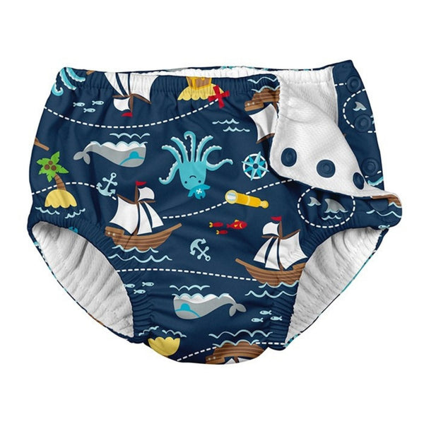 Resusable snap swim diaper with navy fabric and pirate ship and octopus print | saplingshop