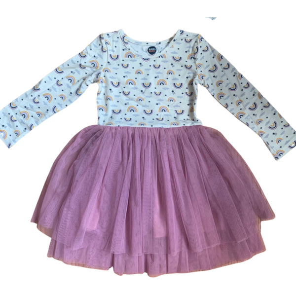 Tutu Toddler Long Sleeve Dress | Rainbow