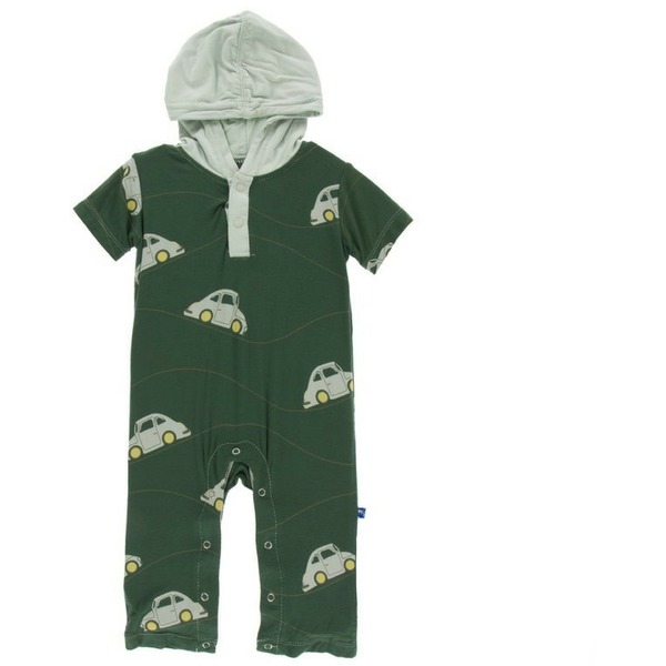 Kickee Pants Short Sleeve Hoodie Romper: Topiary Italian Car
