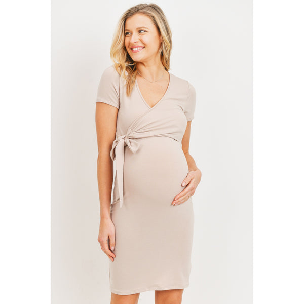 Short Sleeve Soft Terry Maternity and Nursing Dress | Taupe