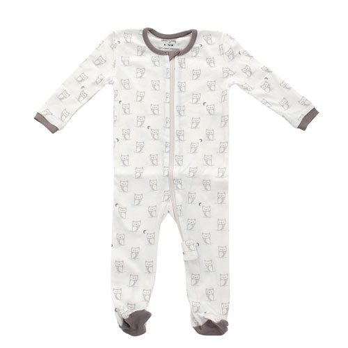 Silkberry Organic Cotton Footed Sleeper | Silver Cloud Owl