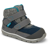 Insulated boot for toddlers with grey and blueaccents