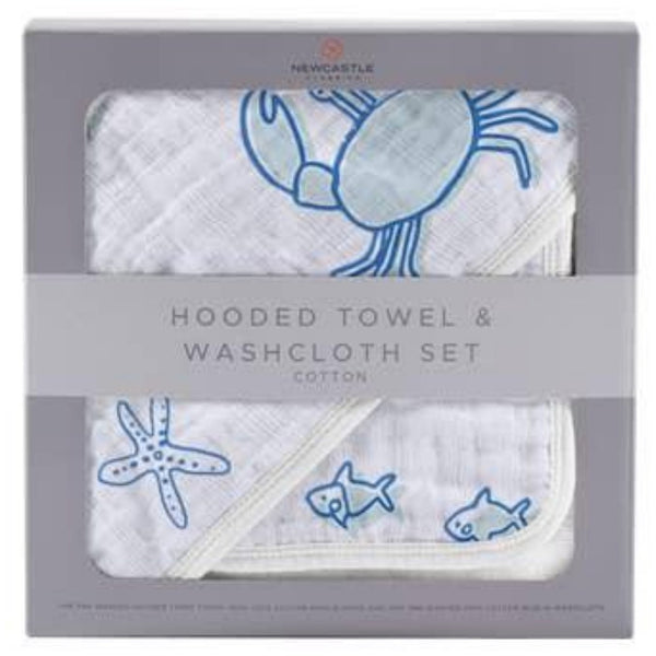 Deluxe Cotton and Muslin Hooded Towel Set | Ocean Friends