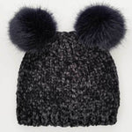 Hand Knit Baby and Toddler Chenille Beanie Hat | Midnight