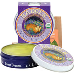 badger night night balm purple tin shown open with yellow balm inside | saplingshop