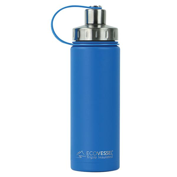 Ecovessel insulated boulder deep blue color water bottle with attached cap and tea strainer | Saplingshop.com