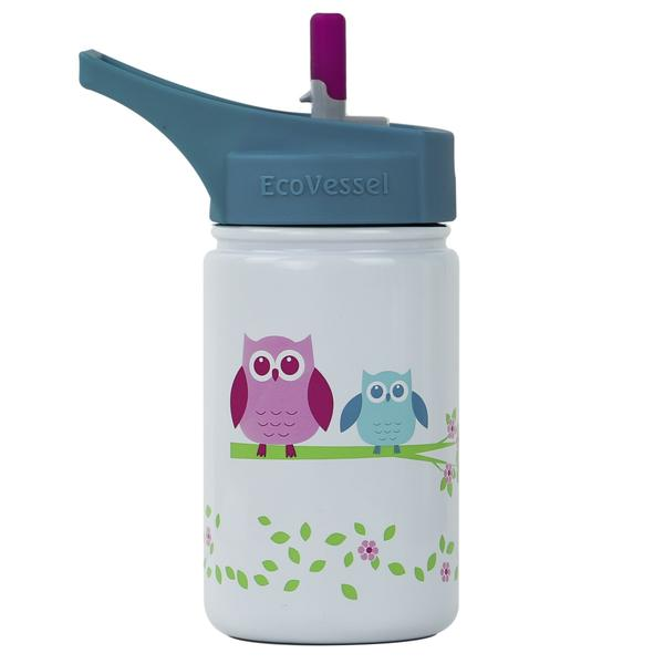EcoVessel 13oz Kids Water Bottle with Flip Straw Top | White Owl