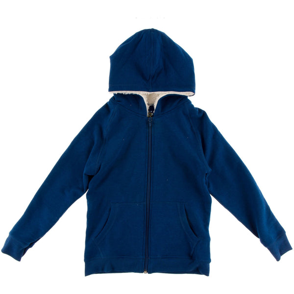 Kickee Pants Fleece Zip Front Sherpa Lined Hoodie | Navy