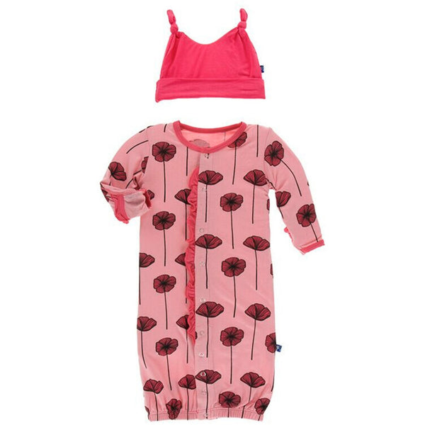 Kickee Pants Ruffle Layette Converter and Hat Set | Strawberry Poppies