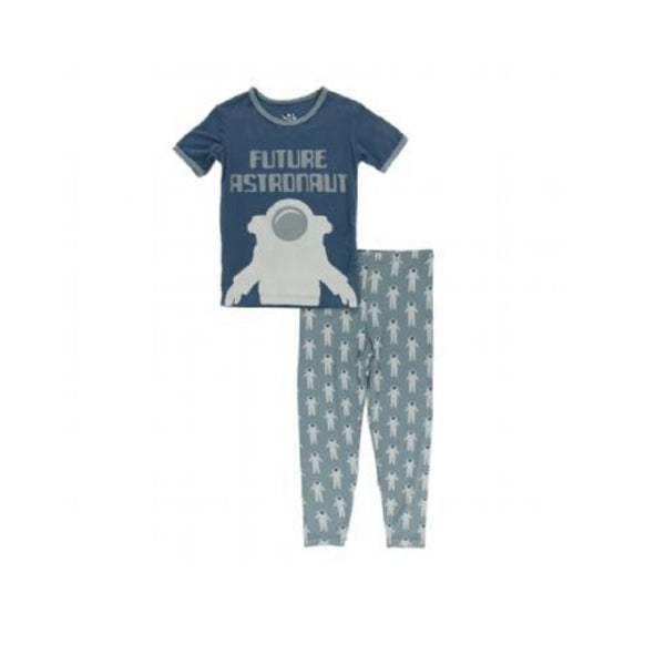 Kickee Pants Short Sleeve Pajama Set | Dusty Sky Astronaut