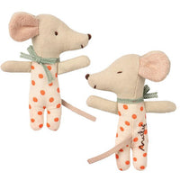 baby linen plush mouse with one side asleep and one side awake in a polka dot coral outfit