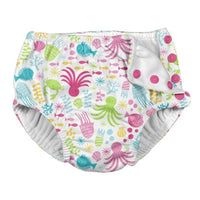 white swimsuit reusable diaper with sea animal print in pink, light green and turquoise | saplingshop