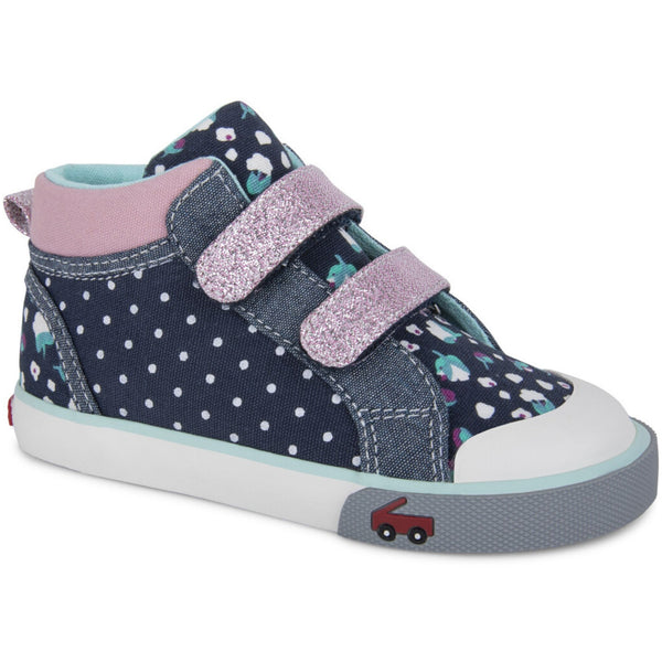 high top toddler sneaker Navy and pink straps with polka dots