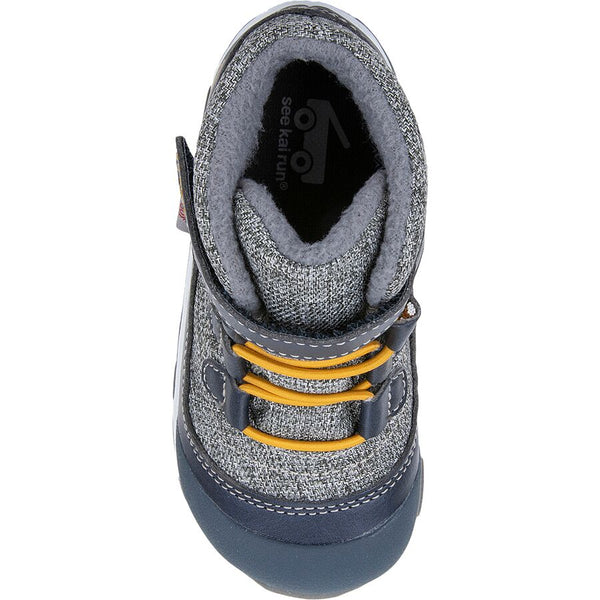 waterproof Grey and navy boot with yellow laces