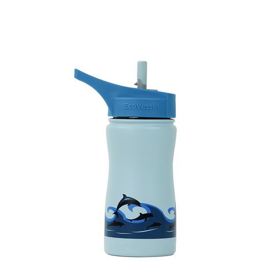 Ecovessel light blue with dolphin design insulated 13oz flip top non-leak water bottle | Saplingshop.com