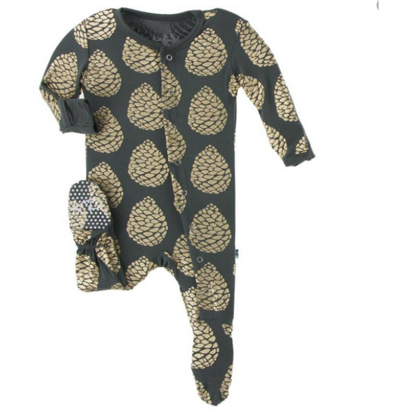 KicKee Pants Bamboo Footie with Zipper | Pewter Pinecones