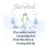 sturdy cardboard keepsake with a picture of narwhal and a small poem about asking for help