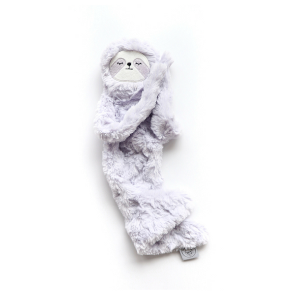Plush sloth, light violet color with sleepy face and long arms to hug | SaplingShop
