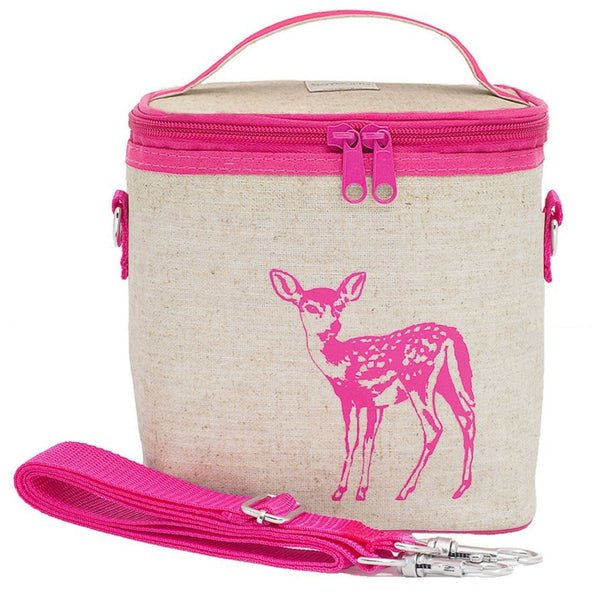 So Young Small Insulated Linen Cooler Bag | Pink Fawn