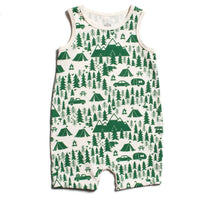 winter water factory tank romper with green print of trees, mountains, and tents | saplingshop