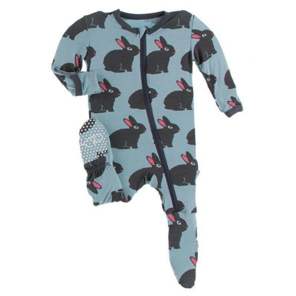 KicKee Pants Bamboo Footie with Zipper | Jade Forest Rabbit