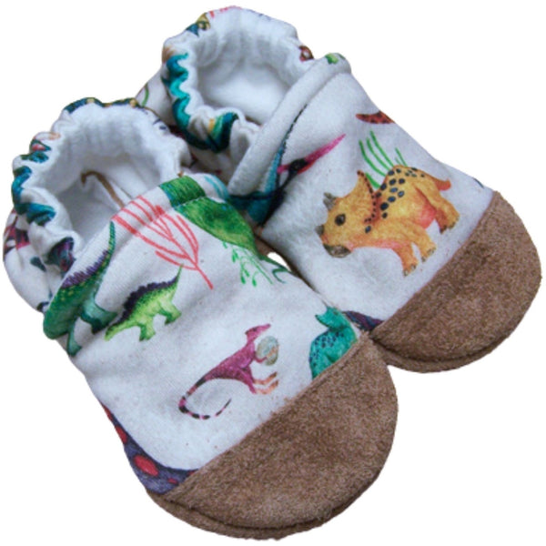 Snow and Arrow Organic Cotton Infant and Toddler Slippers | Dino Might
