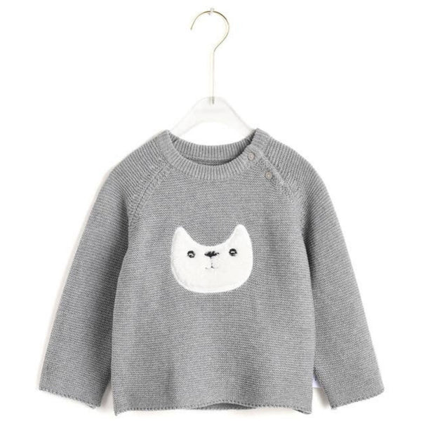 Hand Knit Cotton Kitty Sweater